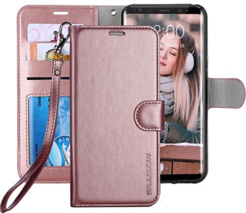 Galaxy S8 Case, ERAGLOW Luxury PU Leather Wallet Flip Protective Case Cover with Card Slots and KickStand for Samsung Galaxy S8 (Rose Gold)