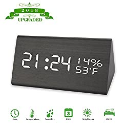 [2018 Upgraded] Digital Alarm Clock,Three Alarm Sets,3 Brightness Levels,Dual Time (12/24) Mode with Wooden Electronic LED Time Display, Dual Temperature & Humidity Detect for Bedroom