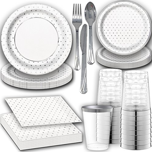 - Shiny Silver Disposable Dinnerware for 24. Dinner and Dessert Paper Plates and Napkins with Reflective Silver Design, Clear Tumbler Cups with Silver Rim, and Silver Cutlery. Fancy Party Supplies