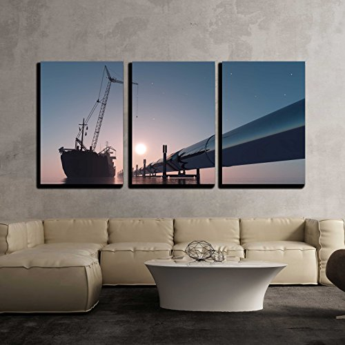 """wall26 - 3 Piece Canvas Wall Art - Construction of The Pipeline into The sea. - Modern Home Decor Stretched and Framed Ready to Hang - 24""""x36""""x3 Panels"""