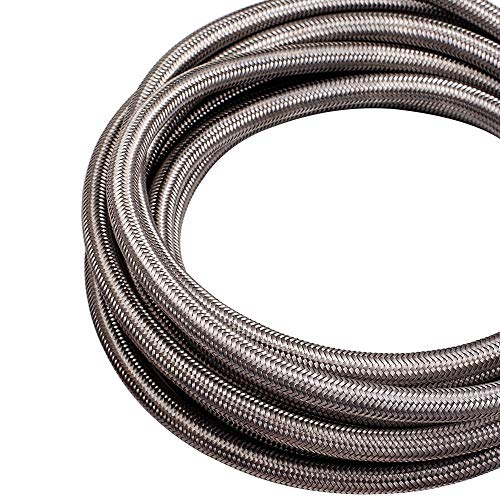 20FT AN6-6AN Fitting Steel Nylon Braided Oil Silver Fuel Hose Line Kit 20 Feet by Tuningsworld (Image #5)