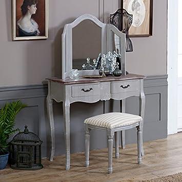 Melody Maison Coiffeuse Tabouret Gris Miroir Triptyque Amazon Fr