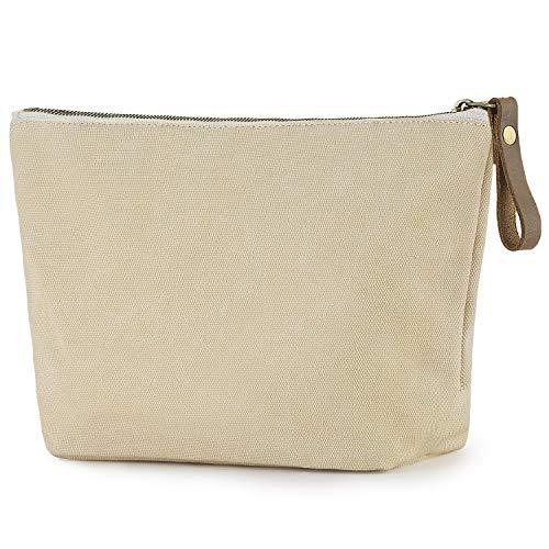 SMRITI Canvas Large Makeup Bag Pouch Purse Handbag Organizer with Zipper ()