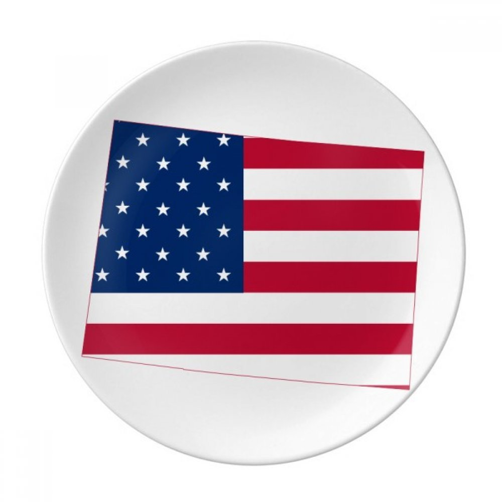 Colorado America Map Stars Stripes Flag Dessert Plate Decorative Porcelain 8 inch Dinner Home