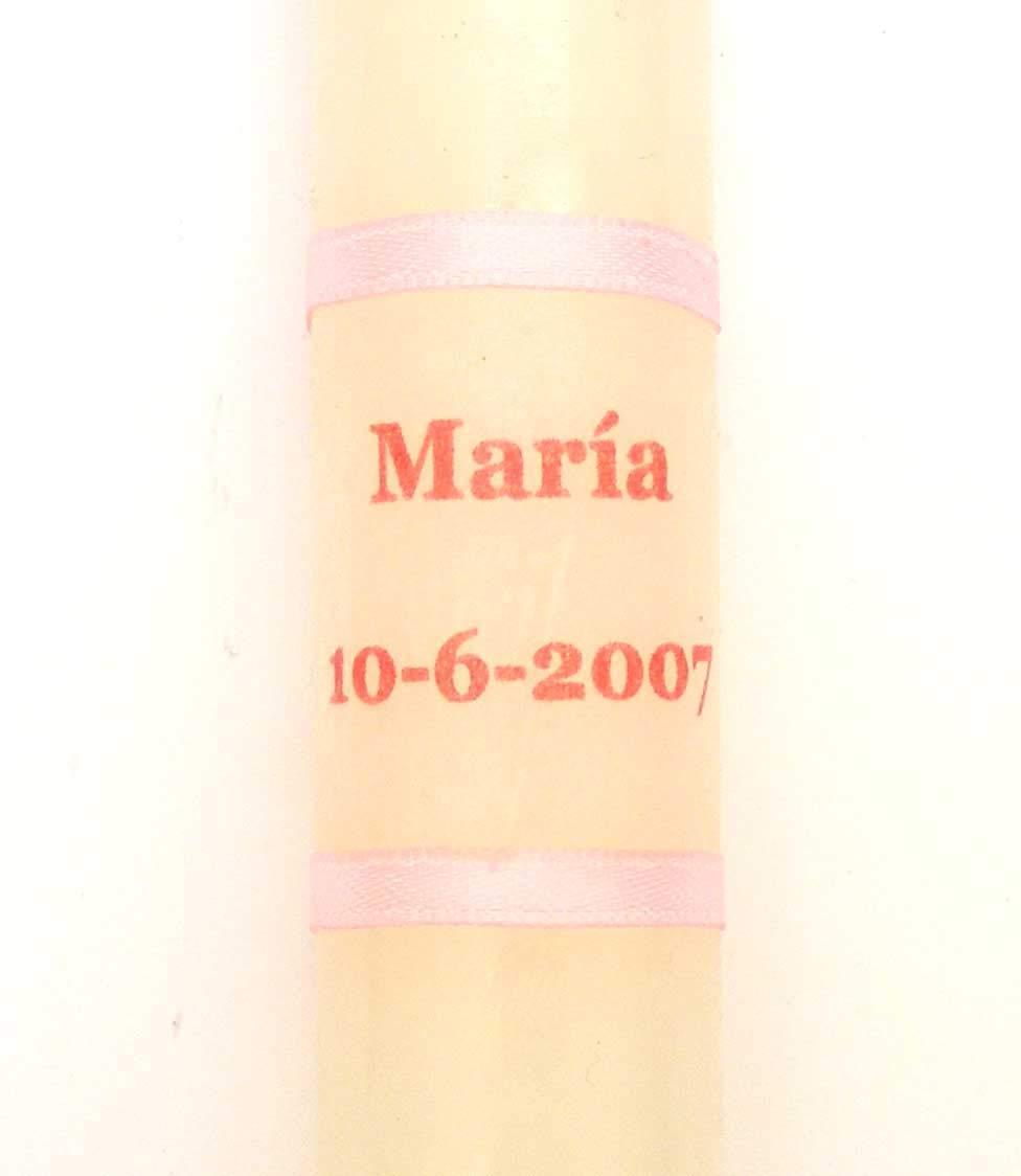 AZUL O DORADO vela de bautizo-32 l/írio 30x2cm-POSIBILIDAD DE PERSONALIZAR CON EL NOMBRE Y LA FECHA DEL BAUTIZO EN ROSA