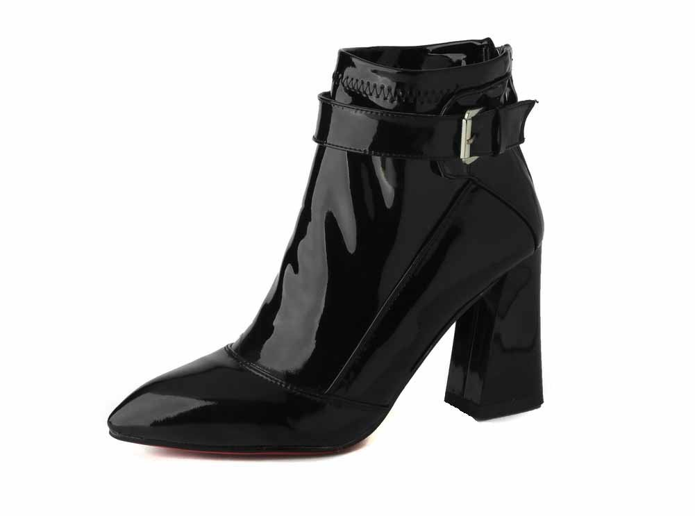 VogueZone009 Women's Pointed Closed Toe Low Top High Heels Solid Patent Leather Boots, Black, 42