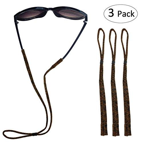 - Fixget Eyewear Retainer, Adjustable Sports Sunglass Holder Straps, Elastic Nylon Standard Safety Eyeglasses Neck Cord String Eyewear Retainer Strap - Set of 3, Brown
