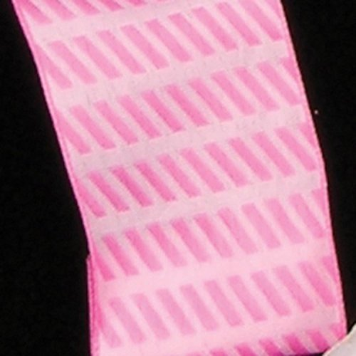 Small Pink Diagonal Stripes Woven Taffeta Wired Craft Ribbon 1.5