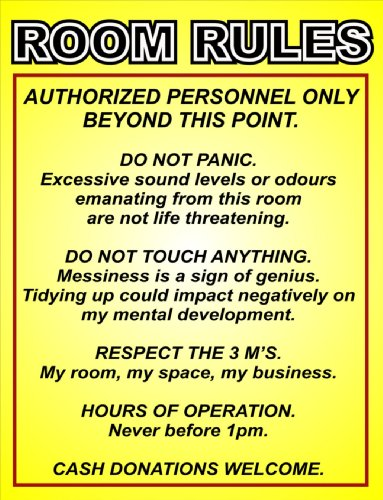 2229 EXTRA LARGE ROOM RULES FUNNY METAL ADVERTISING WALL