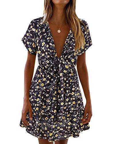 (ABYOXI Women's Elegant Ruffle Trim Floral Print Deep V Neck Short Dress Black XL)