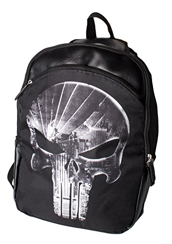 Fan Finish Pack (Marvel Superhero Punisher Skull Backpack for Boys, Black Laptop School Bag)