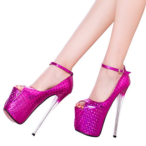 fereshte Spring New Women's Peep Toe Platform Stiletto Sandals Sky High Heels Wedding Party Pumps Shoes 549-19CM-Rose QORG0vH