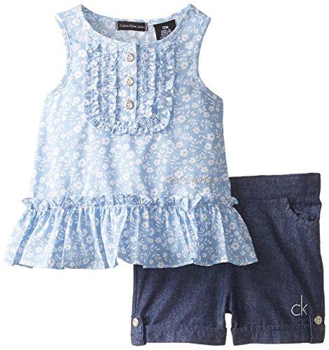 Calvin Klein Baby Girls' Printed Top with Denim Shorts, Blue, 12 Months