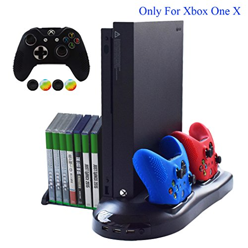 Hikfly 5 in 1 Vertical Stand Cooling Fan & Controller Charging Station & Game Storage & USB 2.0 HUB All in One Kit for Xbox One X Consoles(2017 Release)