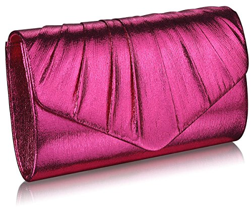 Evening Any Style Or Clutch Metallic Womens Bag 1 Design party Occasion Ladies Purse Handbags For Envelope Special Designer Fuchsia qwHSt