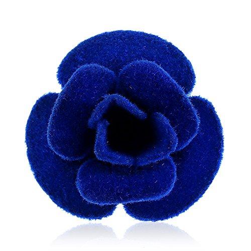 Winter's Secret Fashion Blue Cloth Felt Brooch Handmade Camellia Flower Lapel Pin Sleeve (Airhead Fusion)