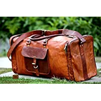 Leather Native New Large Men's Leather Vintage Duffle equipaje Weekend Gym Bolsa de viaje durante la noche Gran regalo para hombres y mujeres