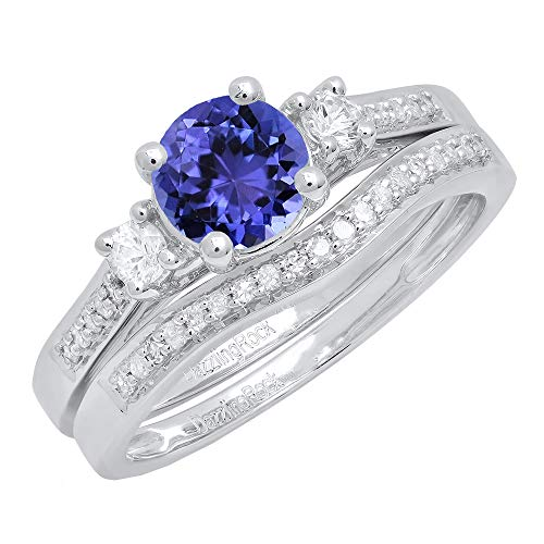 Dazzlingrock Collection 10K 6 MM Round Tanzanite, White Sapphire & Diamond Ladies 3 Stone Ring Set, White Gold, Size 10