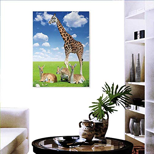 Photo to Canvas Print Wall Art Antelope and Giraffe on Green Meadow Zoo African Animals in Tropic Atmosphere Wall Sticker Quotes 20