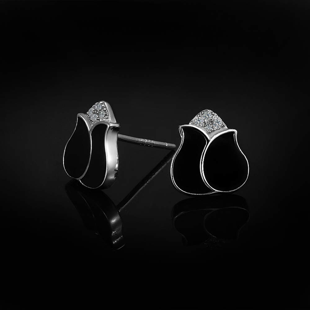Onefeart Sterling Silver Stud Earrings for Women Round Cubic Zirconia Black Rose Design Stud Earrings 0.8x0.9CM Silver