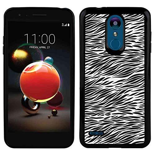 (LG K8 (2018) TPU Phone Case [5in] Zebra Print Black and White Hand Drawn African Animal Skin Camouflage Illustration Charcoal Grey White )