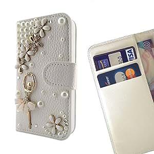 FOR HTC One M9+/ M9 PLUS Ballet Girl Flower Bling Bling PU Leather Waller Holder Rhinestone - - OBBA