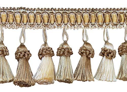 Elegant 3 Inch Long Vintage Ivory, Light Beige Tassel Fringe - White Sands 4001 (Sold by The Yard) ()