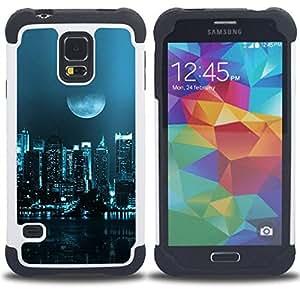 """SAMSUNG Galaxy S5 V / i9600 / SM-G900 - 3 en 1 impreso colorido de Altas Prestaciones PC Funda chaqueta Negro cubierta gel silicona suave (Moon City"""")"""