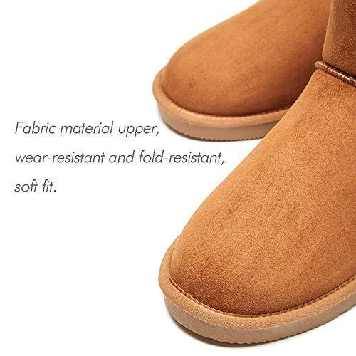 Piatta Pantofole Foderato Stivaletti Casual Shoes Fur Stivali Faux Apricot Neve Caldo Scarponi Sci Inverno Corto Da Outdoor Uomo Slip TCqB46