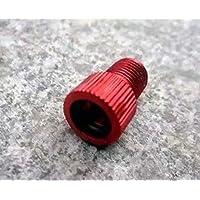 Adaptador de aluminio de válvula Presta a Schrader para bicicleta, incluye junta tórica, color rojo, 2 unidades