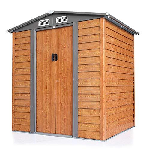 LAZYMOON 5 x 6 Ft Outdoor Garden Backyard Steel Tool Storage Shed Building w/Sliding Door