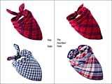 Pet Dog Bandana Scarf Pack - SCENEREAL Triangle Bibs Reversible Christmas Plaid Printing Kerchief 2 Pcs/set Accessories for Small to Large Dogs Cats Pets