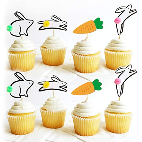 Alexless 24Pcs Easter Bunny Theme Rabbit and Carrot Cupcake Toppers Cake Picks for Easter, Baby Birthday, Spring Party Supplies