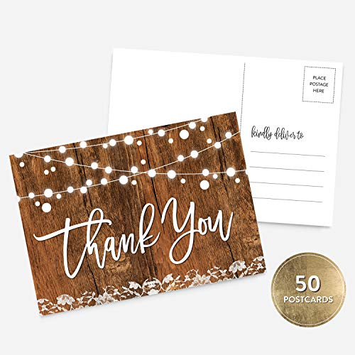 - 50 4x6 Rustic Handlettered Thank You Postcards Bulk Set, String of Lights Thank You Notes for Birthday, Baby or Bridal Shower, Thank You Note Card Stationery, Blank Thank You