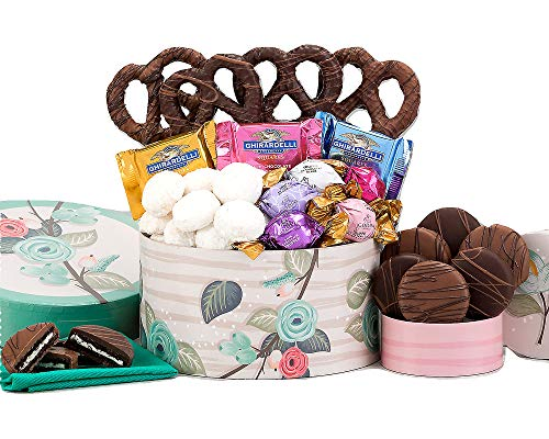 Happy Mother's Day Ghirardelli Sweets and Cookies Deluxe Gift Box. Filled With Truffles, Chocolate Squares, Cookies, Chocolate Oreos, Pretzels and More. Perfect Gift For Mom
