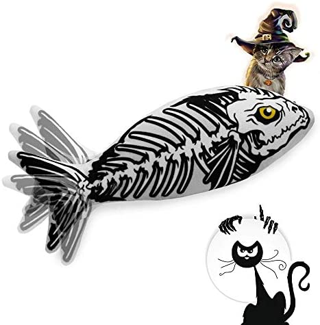 Ospetty Halloween Catnip Moving Fish Cat Toy Electric Dancing Fish Catnip Kicker Interactive Realistic Floppy Fish Toy Lifetime Replacement Guarantee 19