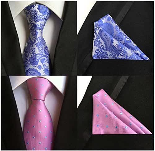 Weishang Mens ties Silk & Pocket Square Handkerchief Suit SET Paisley Wedding