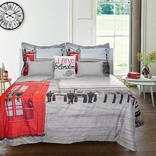OSD 7pc Red Grey I Love London England Phonebooth Theme Comforter Set Full Sized, Stylish Great Britian Phone Booth Themed Pattern, Gray White Black, Chic Vintage United Kingdom UK Parliament Bedding ()