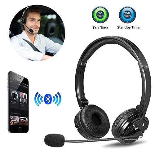 suily Bluetooth Headphones Cellphone Headset with Mic, Over Head Wireless Headphone, Noise Cancellation On-Ear Office…