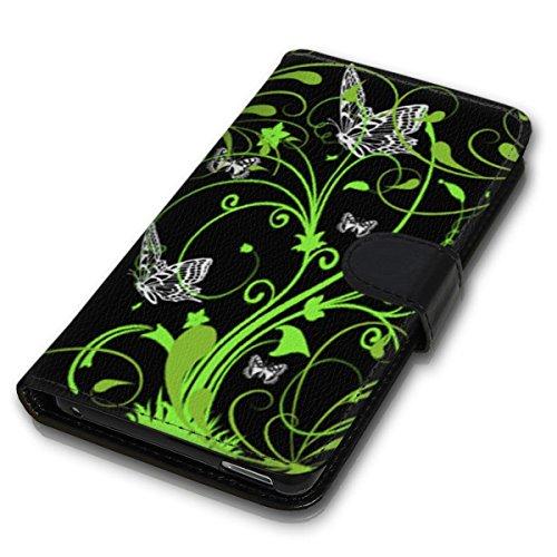 Wallet Book Style Flip Handy Tasche Case Schutz Hülle Schale Motiv Etui für Apple iPhone 4 / 4S - Design Flip MV160