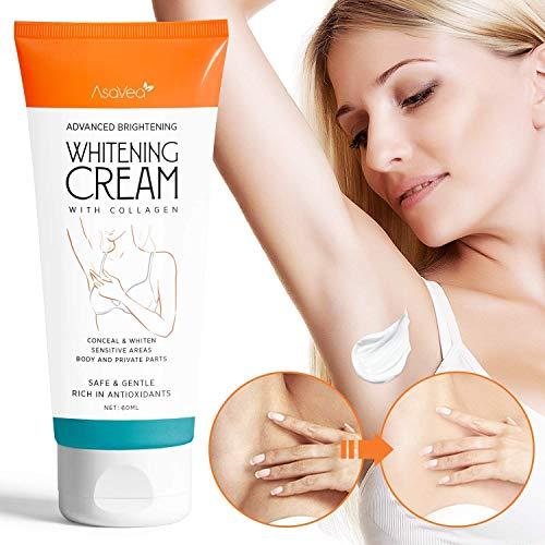 AsaVea Whitening Cream Natural Underarm Lightening Brightening Cream, Armpit Lighting & Bikini Intimate Bleaching, Crotch & Nipple Whitening Pinkish Cream