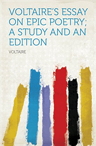Amazoncom Voltaires Essay On Epic Poetry A Study And An Edition  Voltaires Essay On Epic Poetry A Study And An Edition By Voltaire