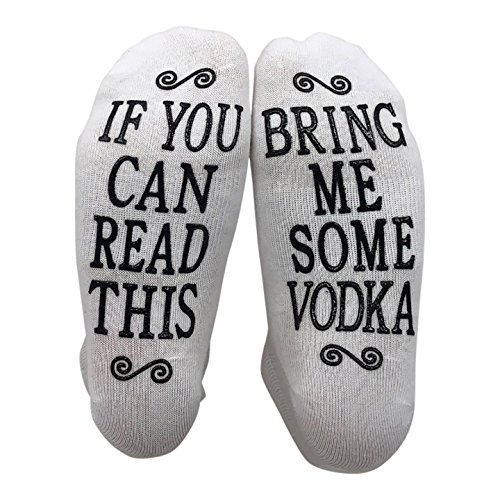 If You Can Read This Bring Me Some Vodka Gift Socks - Perfect Hostess or Housewarming Gift Idea, Birthday Present, or Mother's Day Gift for a Vodka Enthusiast (Best Vodka Under 10)