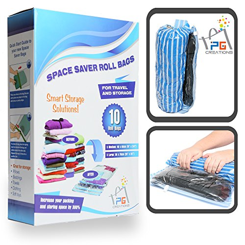 Space Saver Travel Bags for Packing and Storage – 10 Compression Bags No Vacuum