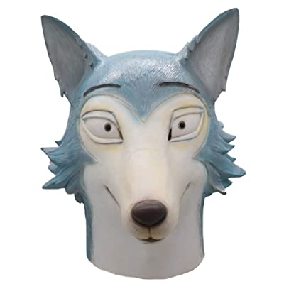 Salemor Beastars Anime Legoshi Cosplay Wolf Head Latex Full Face Mask Headgear Costume Prop Toy: Arts, Crafts & Sewing
