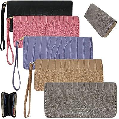 Crocodile Faux Leather Wallet for Women Clutch Wristlet Card Organizer Alessa Jasmine
