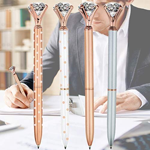 Ballpoint Pens, LLOP 4 Pcs Rose Gold Pen with Big Diamond/Crystal,Metal Ballpoint Pen,Rose Gold White and Silver,School and Office Supplies,Black Ink