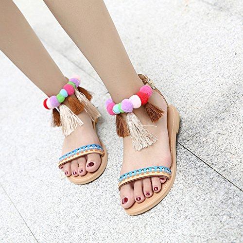 Rome Sandali Calzature Ladies Apricot Toe Bohemian Twgdh Open Colour Ball Flop Holiday Shoes Flip Summer Style Piatti Pantofole 0CRPR1dq