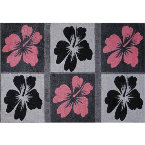 Amazon Com Hibiscus Flower Area Rug Black Amp Pink 39 Quot X58