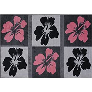 hibiscus flower area rug black pink 39 x58 kitchen dining. Black Bedroom Furniture Sets. Home Design Ideas